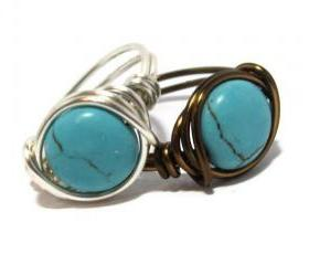 Turquoise Coin Ring Custom Size and Band Color