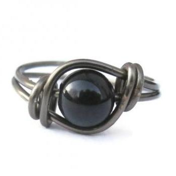Black Agate Ring in Gunmetal