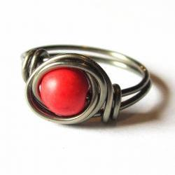 Red Magnesite Ring wire wrapped in gunmetal