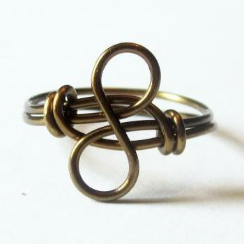 Antique Brass Infinity Ring