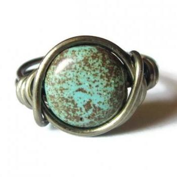 Boho Turquoise Ring Custom Size in Gunmetal