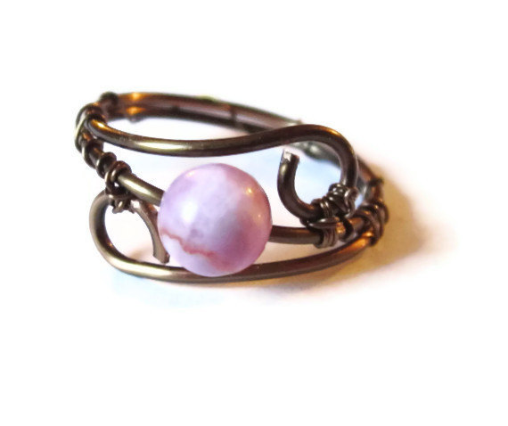 pink gemstone ring wire wrapped in gunmetal custom size on luulla